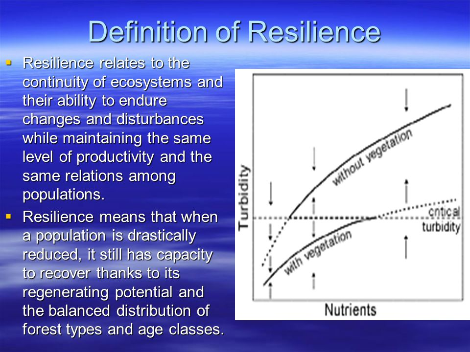 Definition of Resilience  Resilience relates to the continuity of ecosystems and their ability to endure changes and disturbances while maintaining the same level of productivity and the same relations among populations.