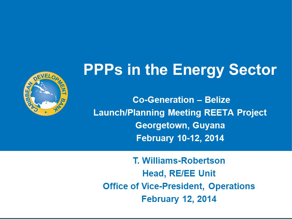 PPPs in the Energy Sector Co-Generation – Belize Launch/Planning Meeting REETA Project Georgetown, Guyana February 10-12, 2014 T.