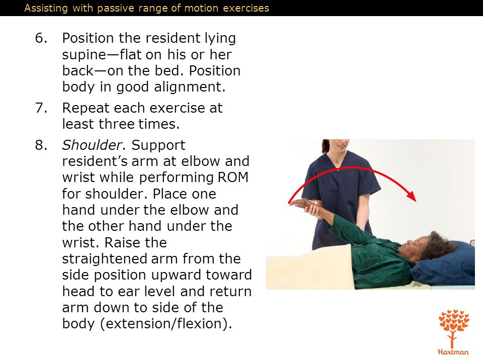 Assisting with passive range of motion exercises 6.Position the resident lying supine—flat on his or her back—on the bed. Position body in good alignm