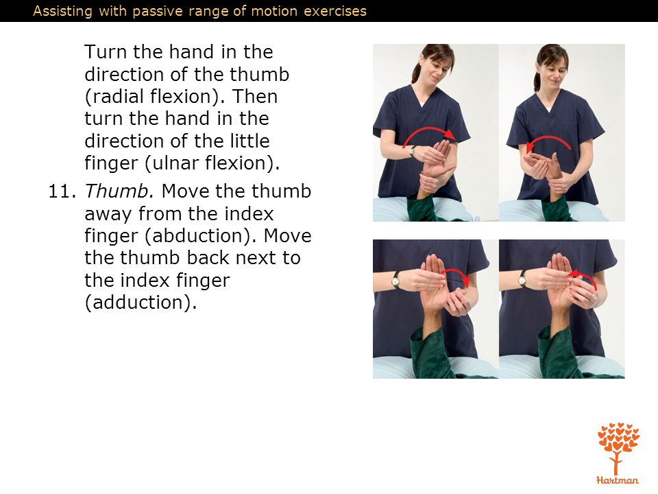 Assisting with passive range of motion exercises Turn the hand in the direction of the thumb (radial flexion). Then turn the hand in the direction of