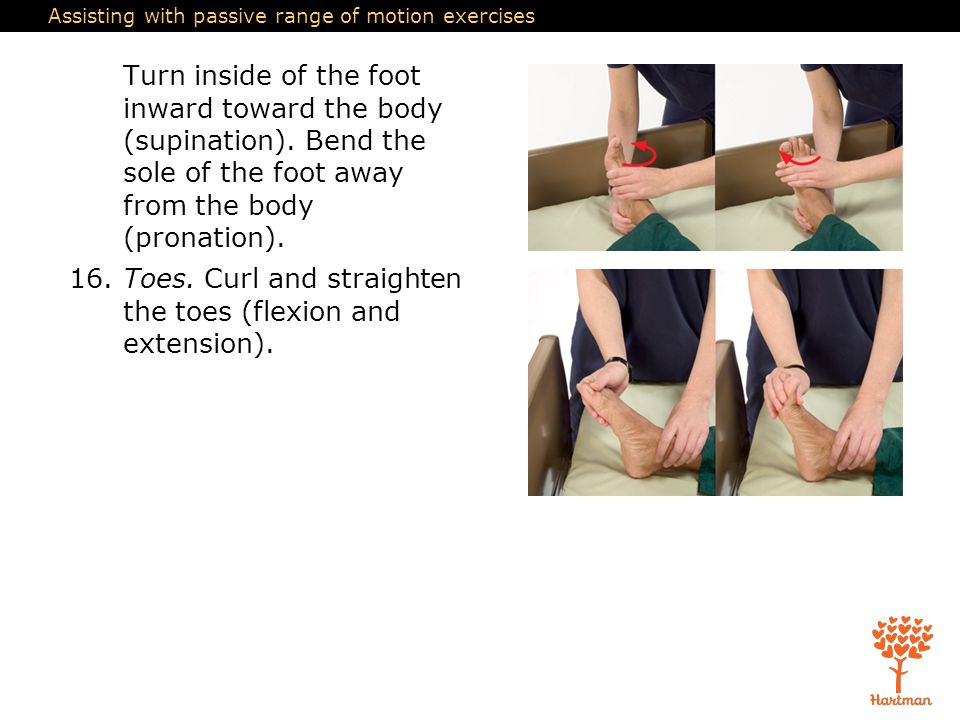 Assisting with passive range of motion exercises Turn inside of the foot inward toward the body (supination). Bend the sole of the foot away from the