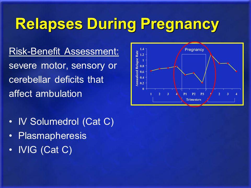 Relapses During Pregnancy Risk-Benefit Assessment: severe motor, sensory or cerebellar deficits that affect ambulation IV Solumedrol (Cat C) Plasmaphe