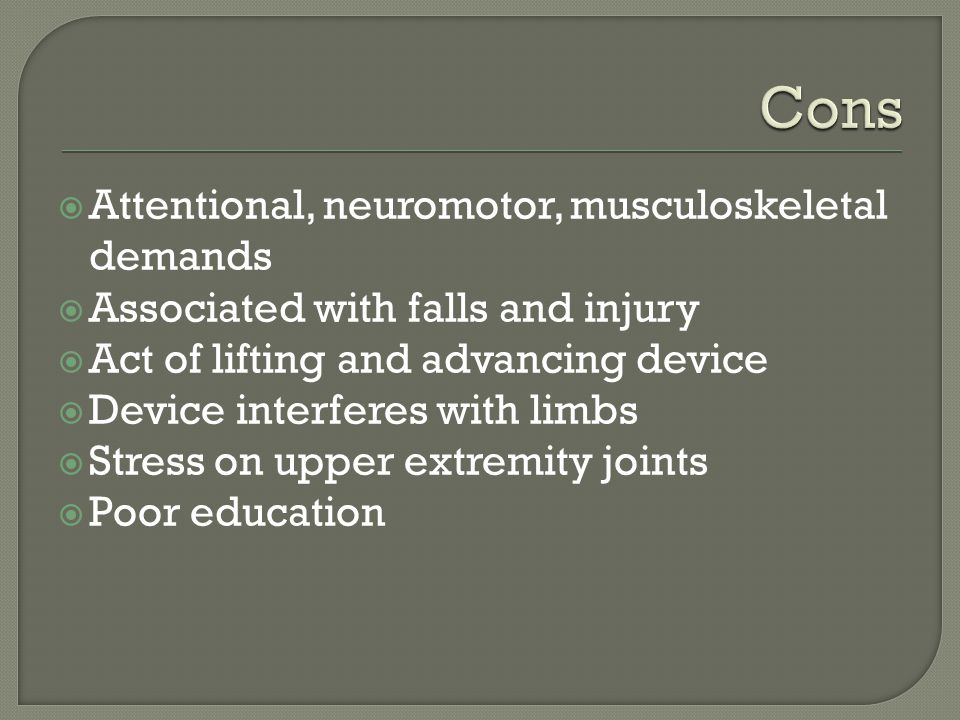 Geriatric Assistive Devices Which of the following caveats should be considered when recommending assistive devices.