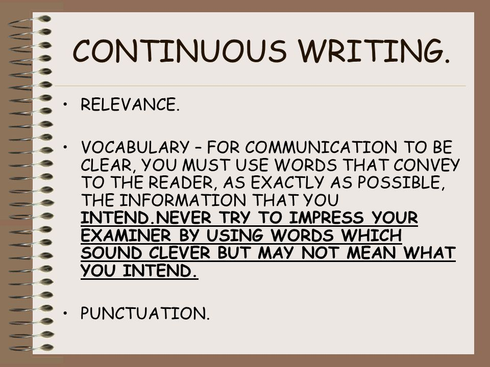 CONTINUOUS WRITING. RELEVANCE.