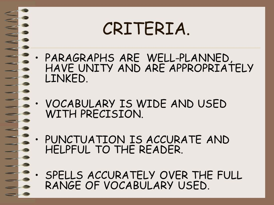 CRITERIA. PARAGRAPHS ARE WELL-PLANNED, HAVE UNITY AND ARE APPROPRIATELY LINKED.