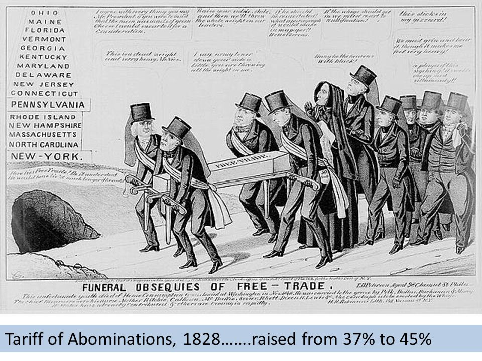 Tariff of Abominations, 1828…….raised from 37% to 45%