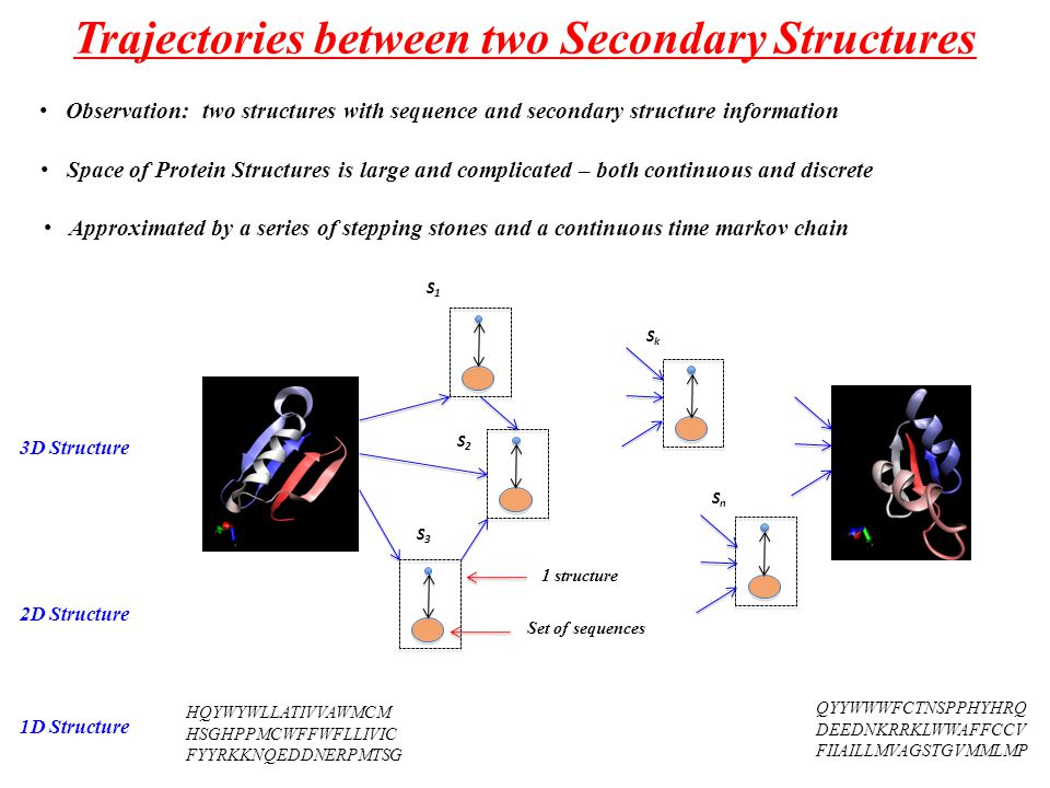 Trajectories between two Secondary Structures HQYWYWLLATIVVAWMCM HSGHPPMCWFFWFLLIVIC FYYRKKNQEDDNERPMTSG QYYWWWFCTNSPPHYHRQ DEEDNKRRKLWWAFFCCV FIIAILLMVAGSTGVMMLMP 1D Structure 3D Structure 2D Structure S1S1 S2S2 SnSn SkSk 1 structure Set of sequences S3S3 Space of Protein Structures is large and complicated – both continuous and discrete Approximated by a series of stepping stones and a continuous time markov chain Observation: two structures with sequence and secondary structure information