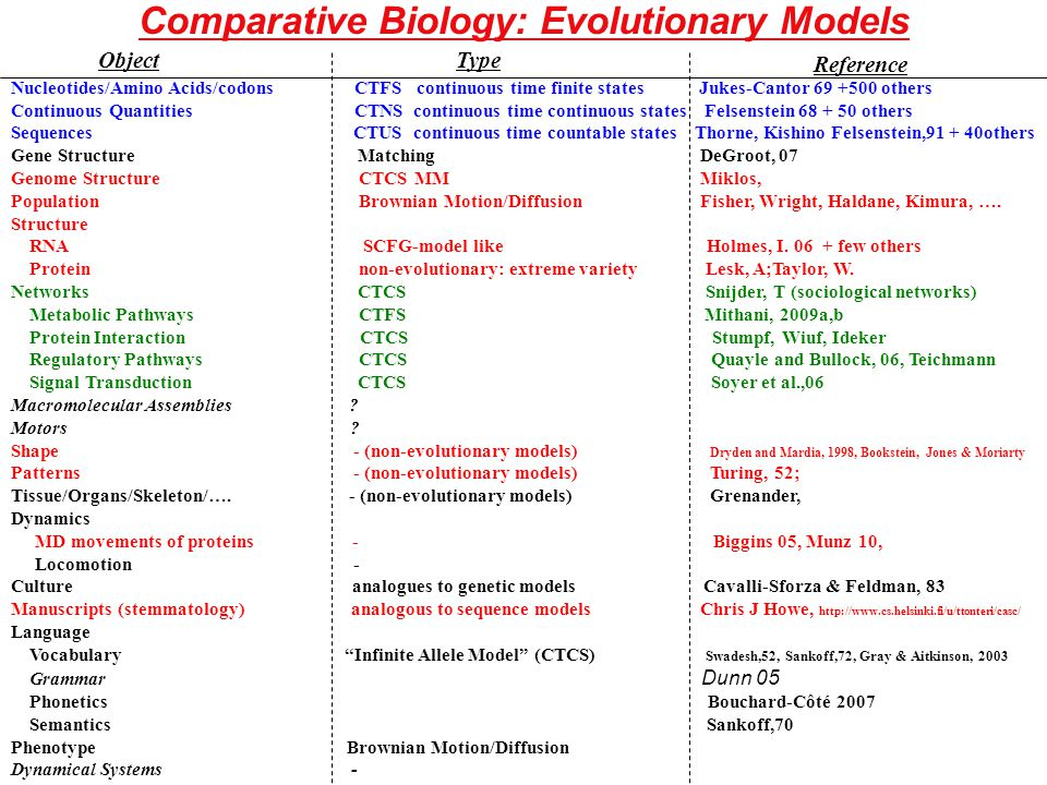 Comparative Biology: Evolutionary Models Nucleotides/Amino Acids/codons CTFS continuous time finite states Jukes-Cantor 69 +500 others Continuous Quantities CTNS continuous time continuous states Felsenstein 68 + 50 others Sequences CTUS continuous time countable states Thorne, Kishino Felsenstein,91 + 40others Gene Structure Matching DeGroot, 07 Genome Structure CTCS MM Miklos, Population Brownian Motion/Diffusion Fisher, Wright, Haldane, Kimura, ….
