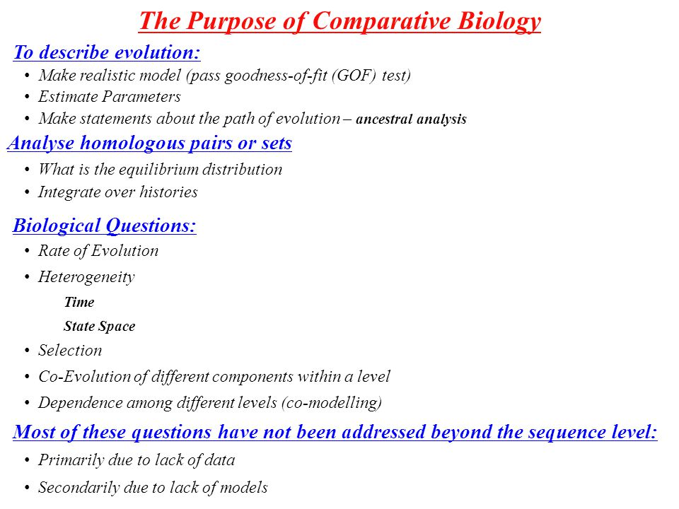 The Purpose of Comparative Biology Primarily due to lack of data Secondarily due to lack of models Make realistic model (pass goodness-of-fit (GOF) test) Estimate Parameters Make statements about the path of evolution – ancestral analysis Co-Evolution of different components within a level Rate of Evolution Heterogeneity Time State Space Selection Dependence among different levels (co-modelling) To describe evolution: Biological Questions: Most of these questions have not been addressed beyond the sequence level: Analyse homologous pairs or sets What is the equilibrium distribution Integrate over histories