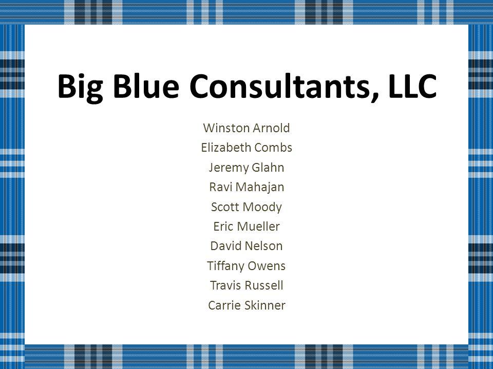 Big Blue Consultants, LLC Winston Arnold Elizabeth Combs Jeremy Glahn Ravi Mahajan Scott Moody Eric Mueller David Nelson Tiffany Owens Travis Russell Carrie Skinner