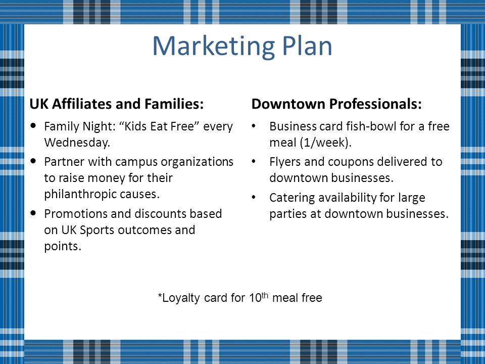 Marketing Plan UK Affiliates and Families: Family Night: Kids Eat Free every Wednesday.