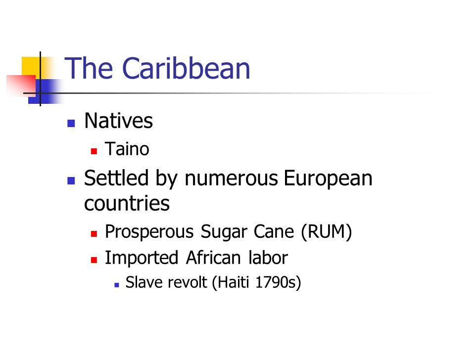 The Caribbean Natives Taino Settled by numerous European countries Prosperous Sugar Cane (RUM) Imported African labor Slave revolt (Haiti 1790s)