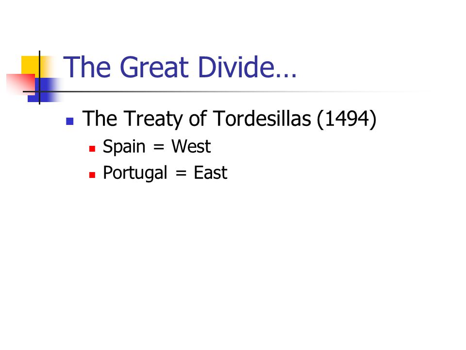The Great Divide… The Treaty of Tordesillas (1494) Spain = West Portugal = East