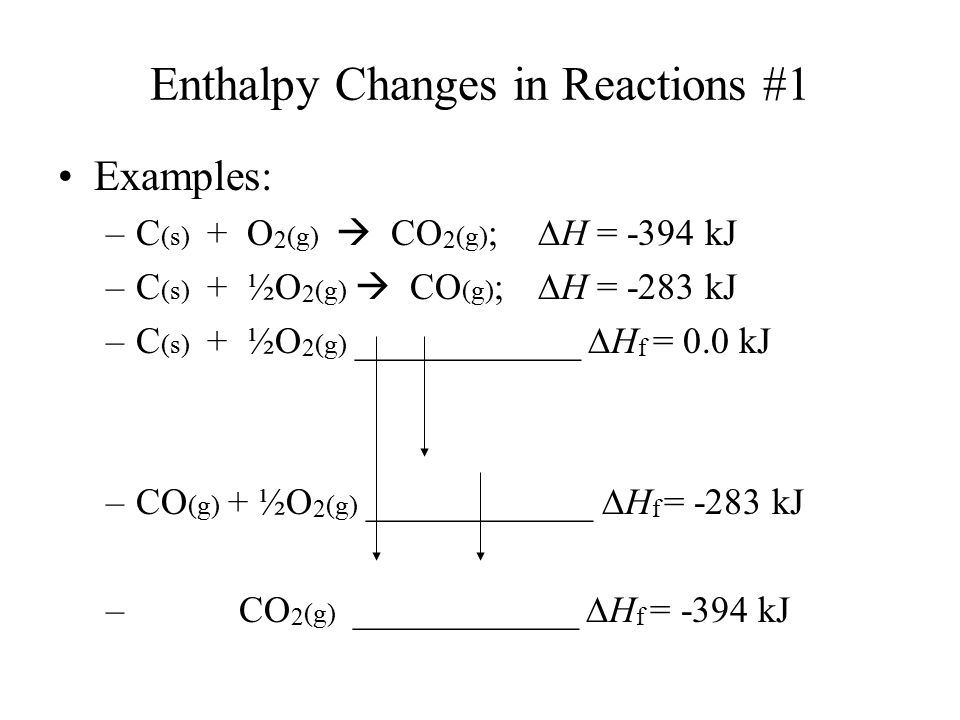Enthalpy Changes in Reactions #1 Examples: –C (s) + O 2 (g)  CO 2 (g) ;  H = -394 kJ –C (s) + ½O 2 (g)  CO (g) ;  H = -283 kJ –C (s) + ½O 2 (g) __