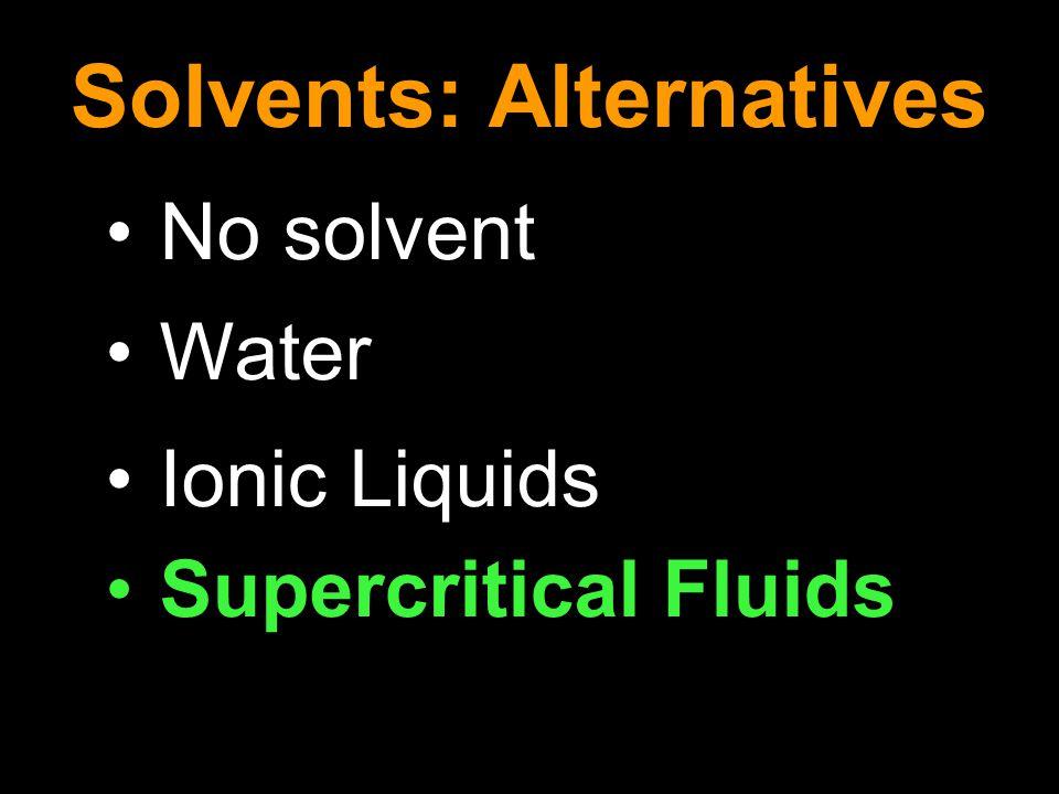 No solvent Water Ionic Liquids Supercritical Fluids Solvents: Alternatives