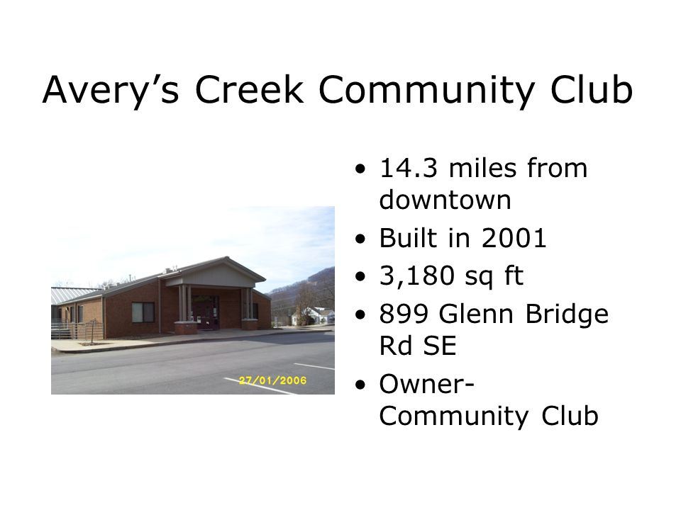 Avery's Creek Community Club 14.3 miles from downtown Built in 2001 3,180 sq ft 899 Glenn Bridge Rd SE Owner- Community Club