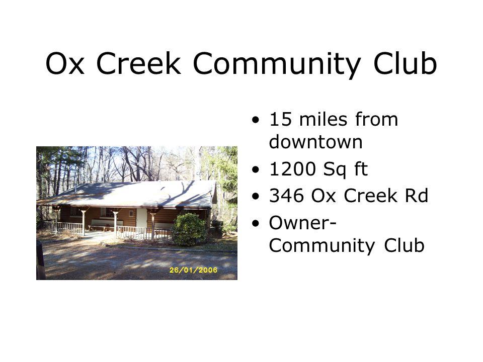 Buckeye Cove Community Club 9.8 miles from downtown 1,200 sq ft 527 Buckeye Cove Rd.
