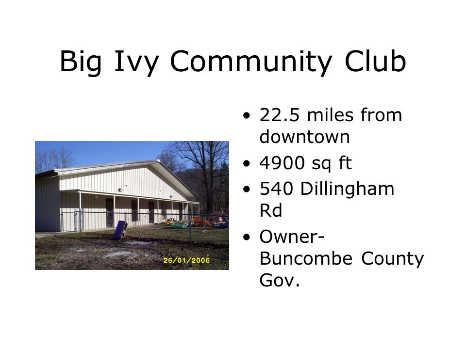 Big Ivy Community Club 22.5 miles from downtown 4900 sq ft 540 Dillingham Rd Owner- Buncombe County Gov.