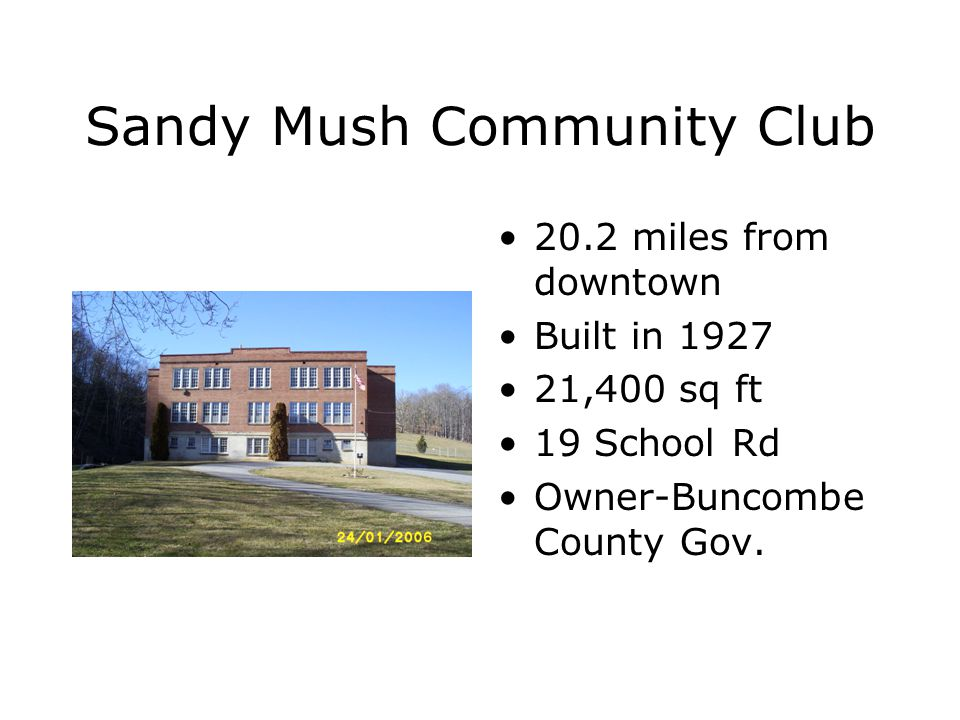 Cane Creek Community Club 14.5 miles from downtown Built in 1956 1612 sq ft 2145 Cane Creek Rd Owner- Community Club