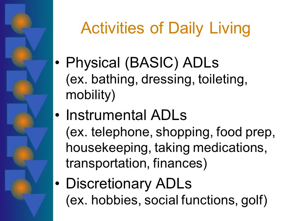 Activities of Daily Living Physical (BASIC) ADLs (ex.