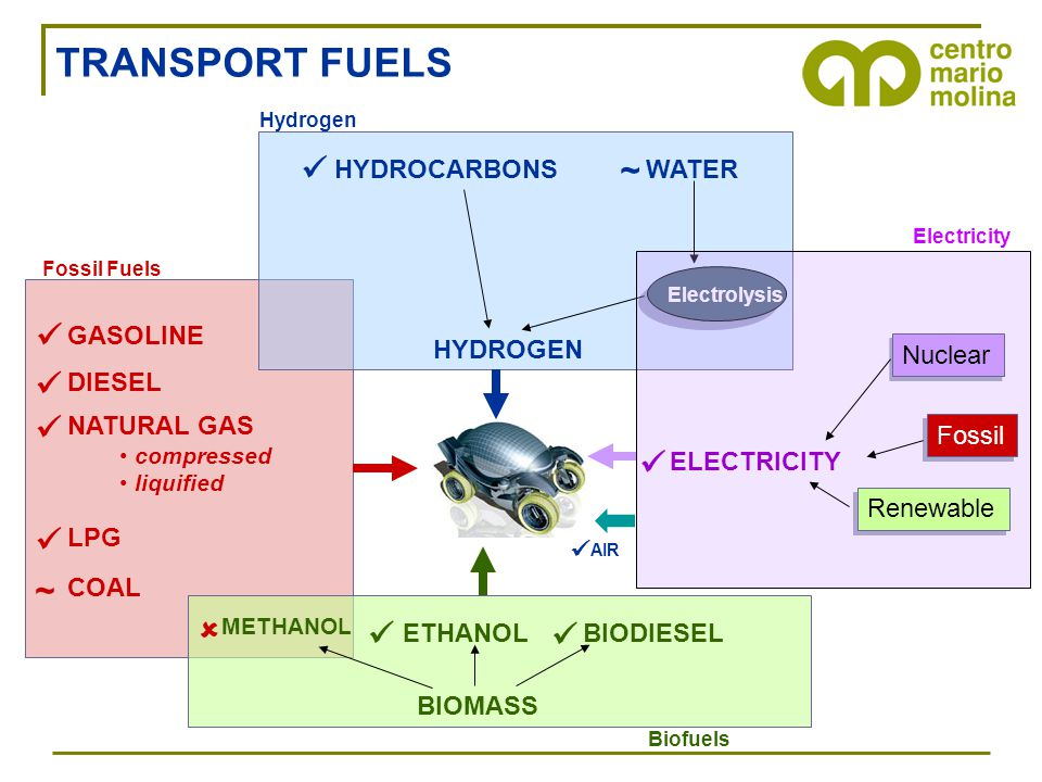 GASOLINE DIESEL NATURAL GAS compressed liquified LPG Fossil Fuels COAL ~ ETHANOLBIODIESEL Biofuels BIOMASS METHANOL  HYDROGEN HYDROCARBONSWATER Elect