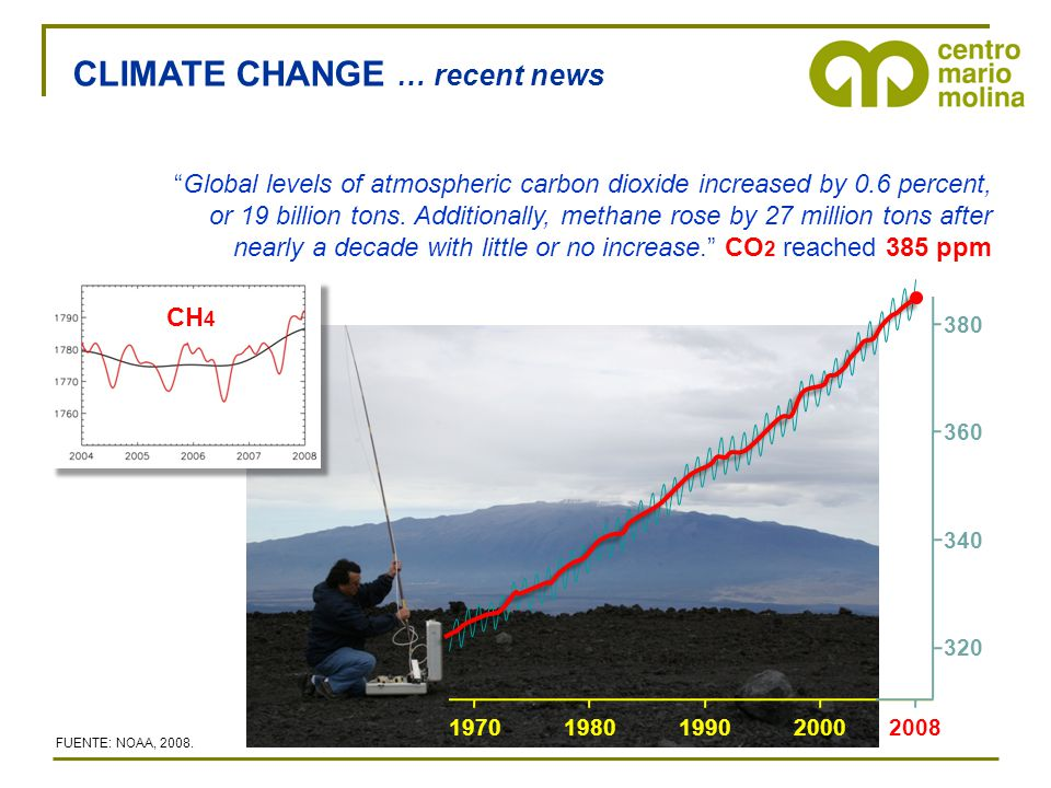 """CLIMATE CHANGE … recent news """"Global levels of atmospheric carbon dioxide increased by 0.6 percent, or 19 billion tons. Additionally, methane rose by"""