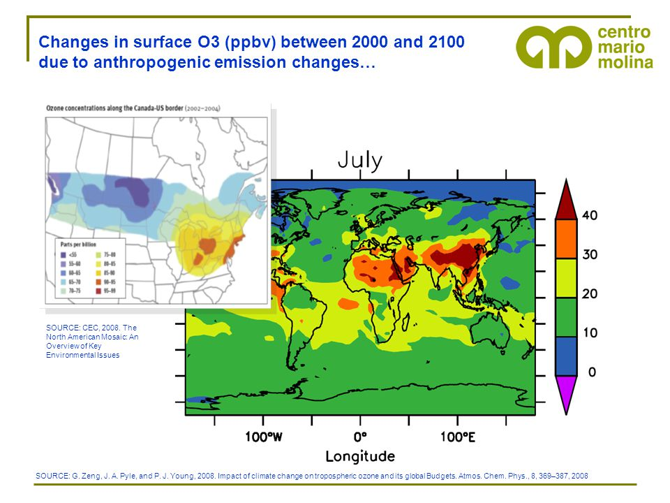 Changes in surface O3 (ppbv) between 2000 and 2100 due to anthropogenic emission changes… SOURCE: G.