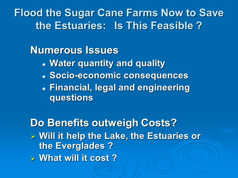 Flood the Sugar Cane Farms Now to Save the Estuaries: Is This Feasible ? Numerous Issues Water quantity and quality Water quantity and quality Socio-e