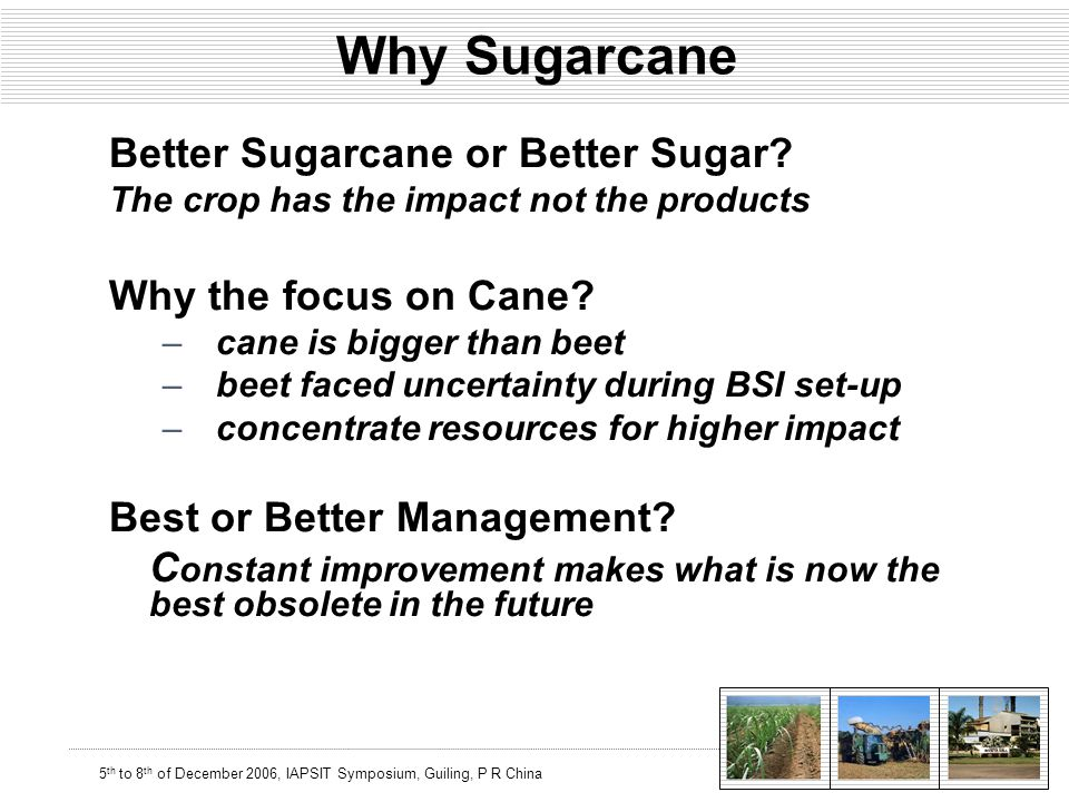 5 th to 8 th of December 2006, IAPSIT Symposium, Guiling, P R China Why Sugarcane Better Sugarcane or Better Sugar.