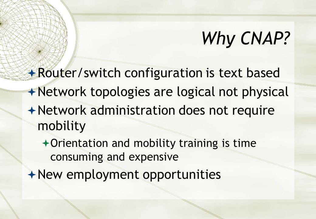 Cisco Network Academy Program (CNAP)  Several programs  CCNA, CCNP, FNS, FWN, ITE, UNIX etc  CAVI covers IT Essentials and CCNA only  The CNAP is a comprehensive program designed to teach students computer, Internet & networking technology skills.