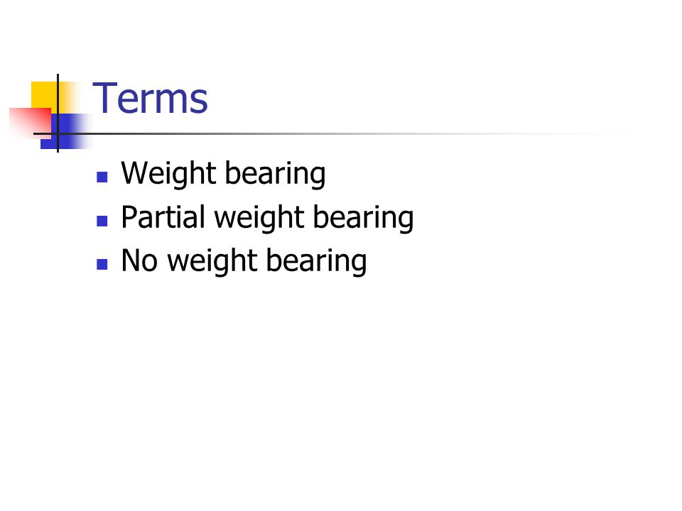 Terms Weight bearing Partial weight bearing No weight bearing