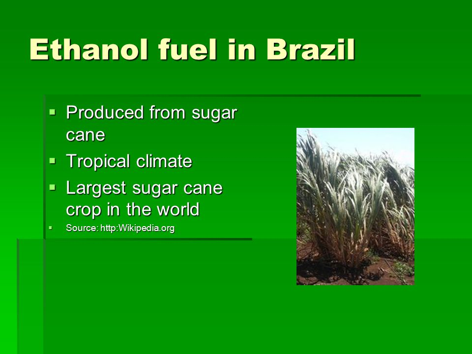 Ethanol fuel in Brazil  Produced from sugar cane  Tropical climate  Largest sugar cane crop in the world  Source: http:Wikipedia.org