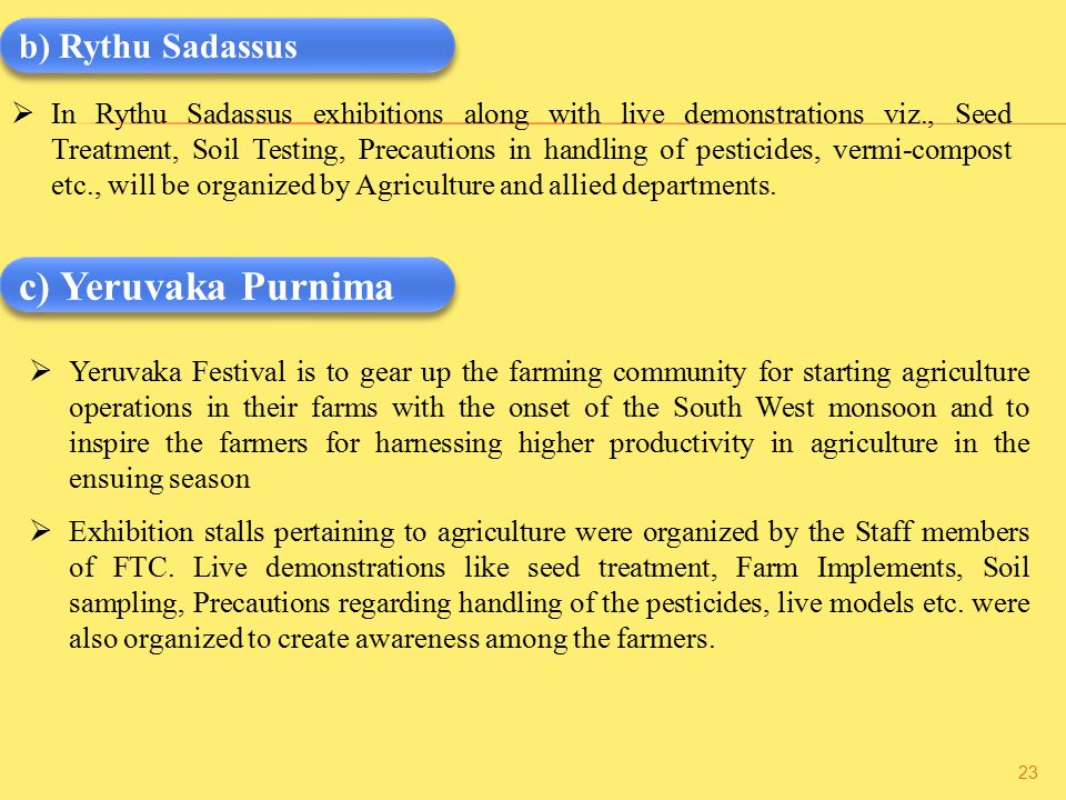  In Rythu Sadassus exhibitions along with live demonstrations viz., Seed Treatment, Soil Testing, Precautions in handling of pesticides, vermi-compost etc., will be organized by Agriculture and allied departments.