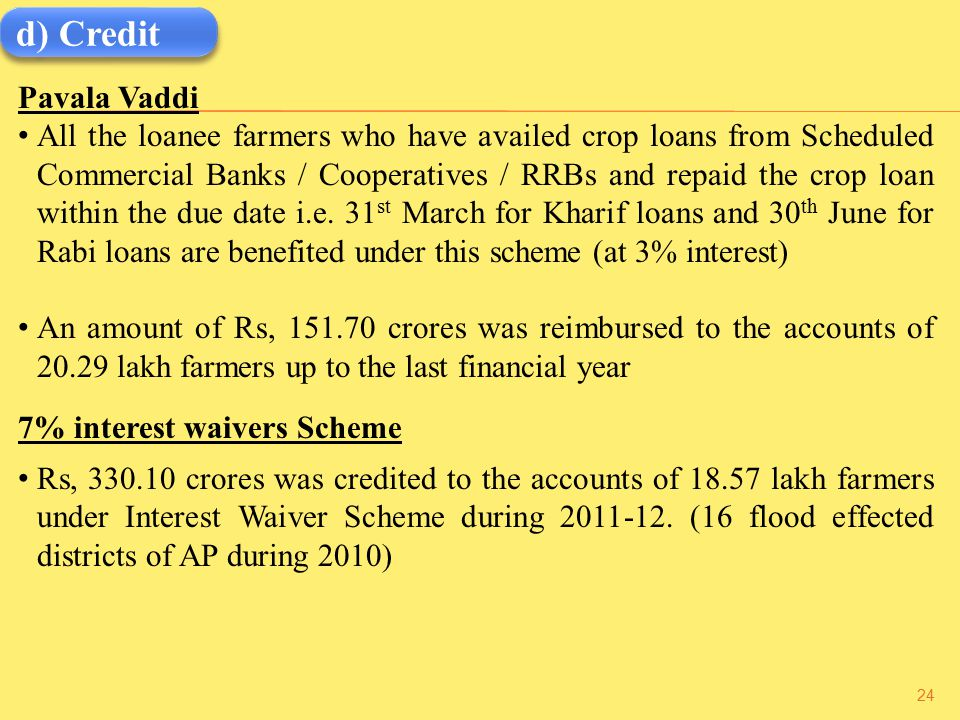d) Credit Pavala Vaddi All the loanee farmers who have availed crop loans from Scheduled Commercial Banks / Cooperatives / RRBs and repaid the crop loan within the due date i.e.