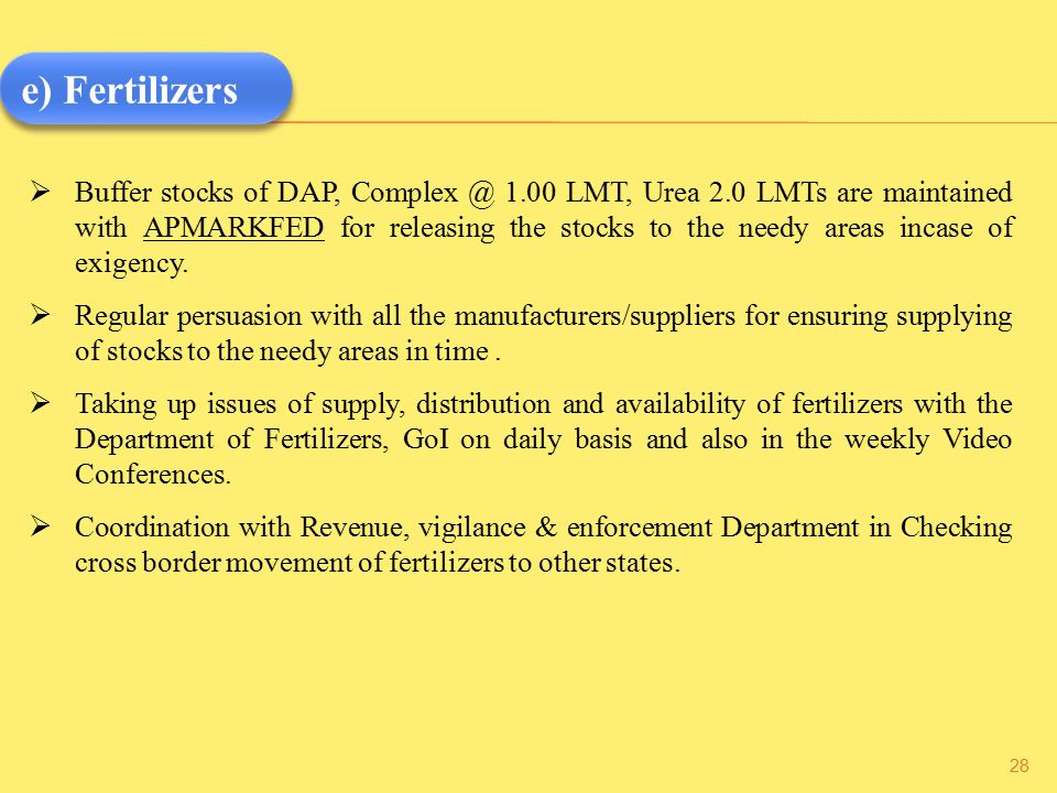  Buffer stocks of DAP, Complex @ 1.00 LMT, Urea 2.0 LMTs are maintained with APMARKFED for releasing the stocks to the needy areas incase of exigency.