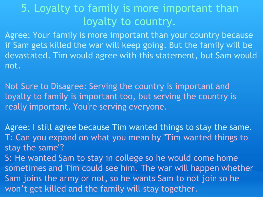 5. Loyalty to family is more important than loyalty to country.