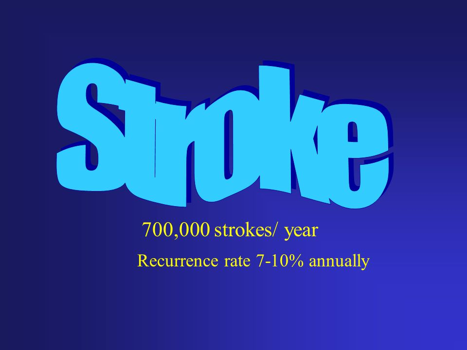 700,000 strokes/ year Recurrence rate 7-10% annually