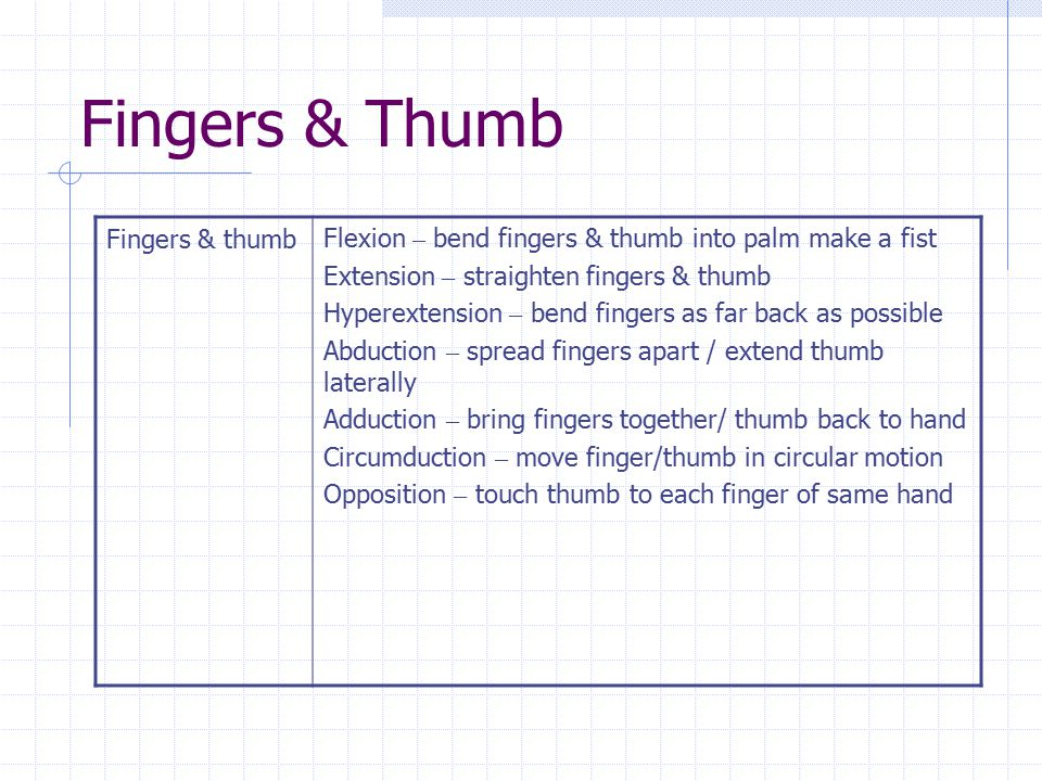 Fingers & Thumb Fingers & thumbFlexion – bend fingers & thumb into palm make a fist Extension – straighten fingers & thumb Hyperextension – bend finge