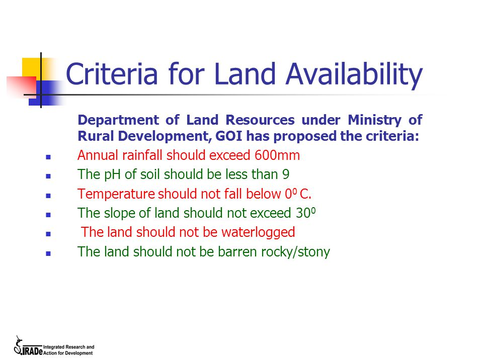 Criteria for Land Availability Department of Land Resources under Ministry of Rural Development, GOI has proposed the criteria: Annual rainfall should exceed 600mm The pH of soil should be less than 9 Temperature should not fall below 0 0 C.