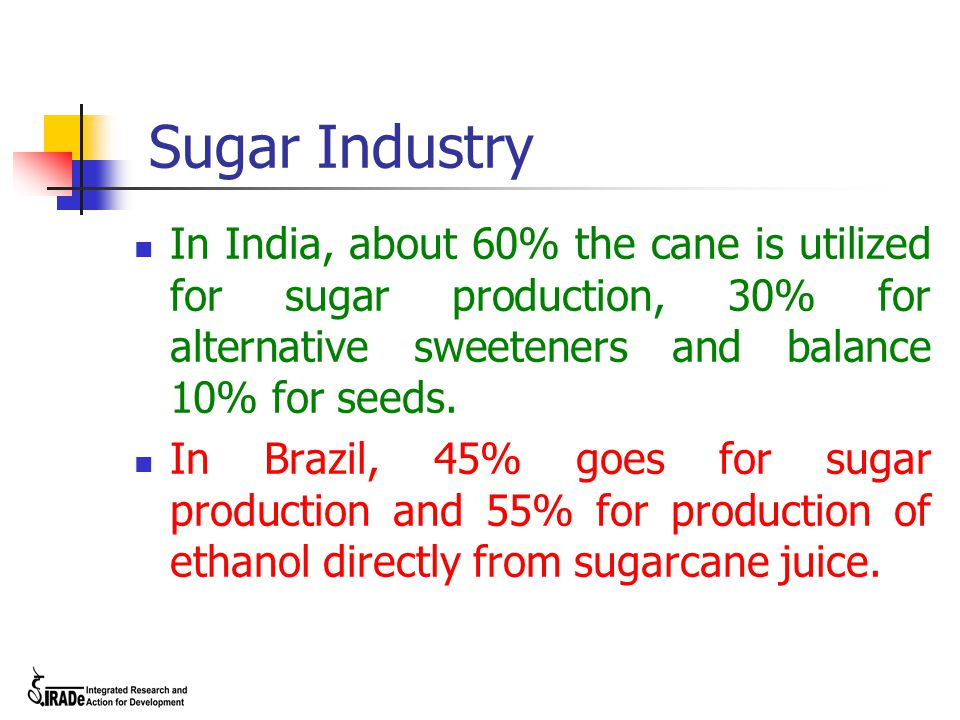 Sugar Industry In India, about 60% the cane is utilized for sugar production, 30% for alternative sweeteners and balance 10% for seeds.