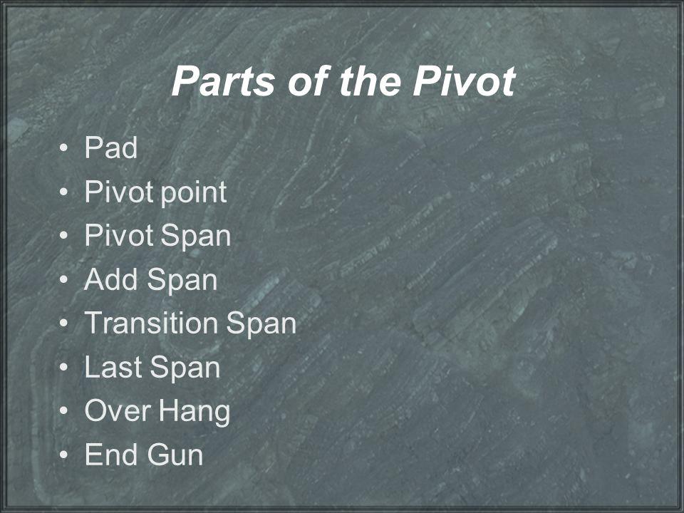 Parts of the Pivot Pad Pivot point Pivot Span Add Span Transition Span Last Span Over Hang End Gun