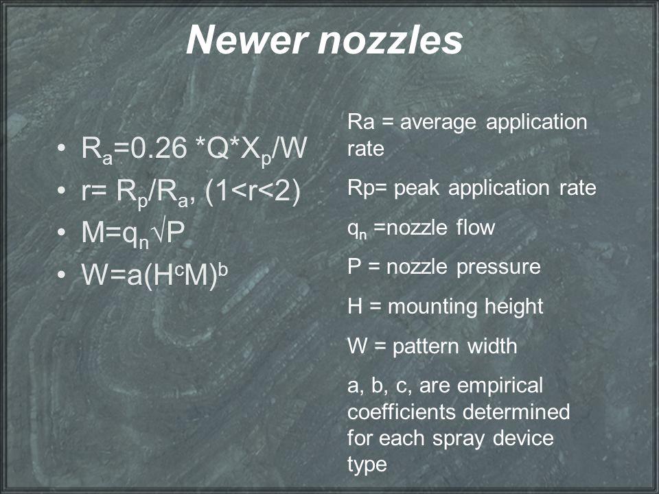 Newer nozzles R a =0.26 *Q*X p /W r= R p /R a, (1<r<2) M=q n √P W=a(H c M) b Ra = average application rate Rp= peak application rate q n =nozzle flow