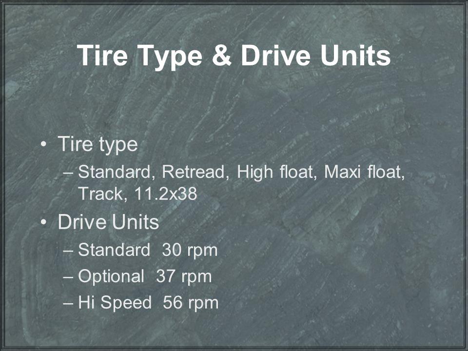 Tire Type & Drive Units Tire type –Standard, Retread, High float, Maxi float, Track, 11.2x38 Drive Units –Standard 30 rpm –Optional 37 rpm –Hi Speed 5