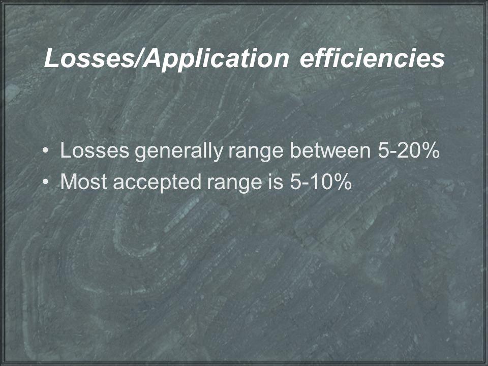 Losses/Application efficiencies Losses generally range between 5-20% Most accepted range is 5-10%