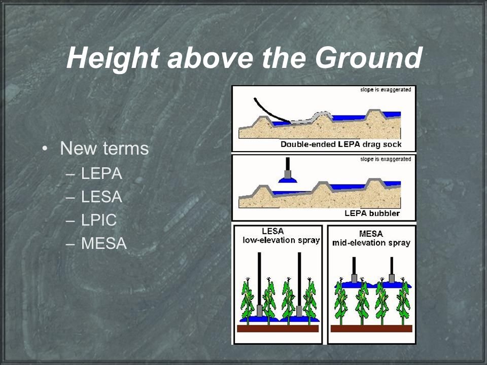 Height above the Ground New terms –LEPA –LESA –LPIC –MESA