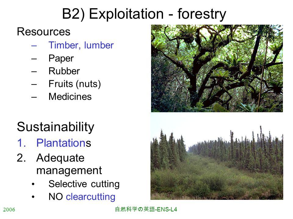 2006 自然科学の英語 -ENS-L4 B2) Exploitation - forestry Resources –Timber, lumber –Paper –Rubber –Fruits (nuts) –Medicines Sustainability 1.Plantations 2.Adequate management Selective cutting NO clearcutting