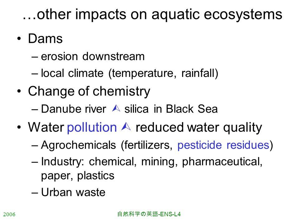 2006 自然科学の英語 -ENS-L4 …other impacts on aquatic ecosystems Dams –erosion downstream –local climate (temperature, rainfall) Change of chemistry –Danube