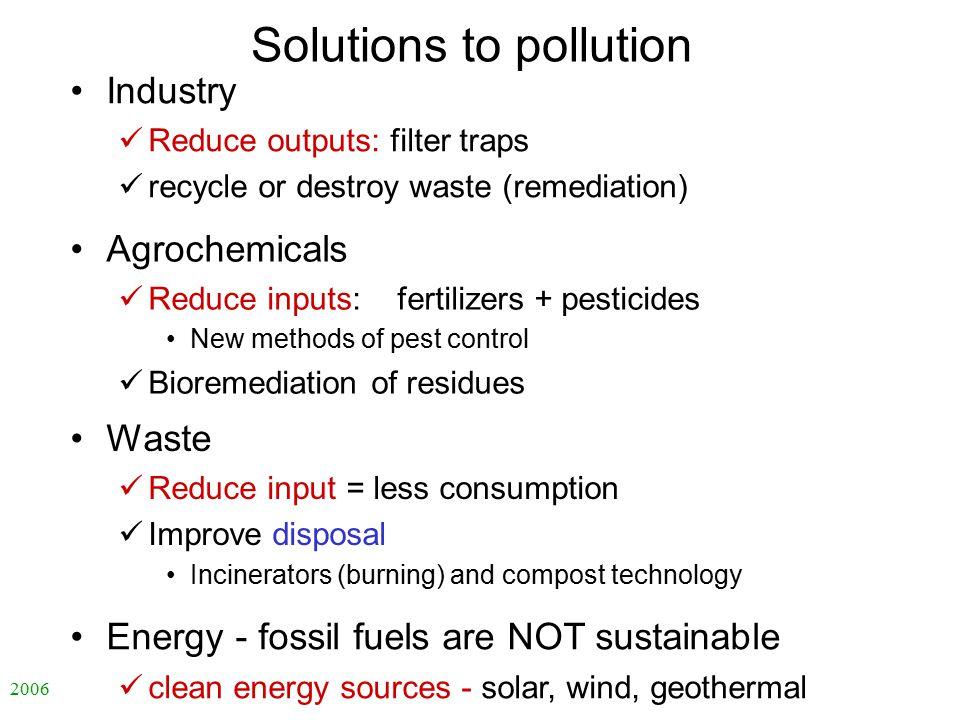 2006 自然科学の英語 -ENS-L4 Solutions to pollution Agrochemicals Reduce inputs: fertilizers + pesticides New methods of pest control Bioremediation of residu