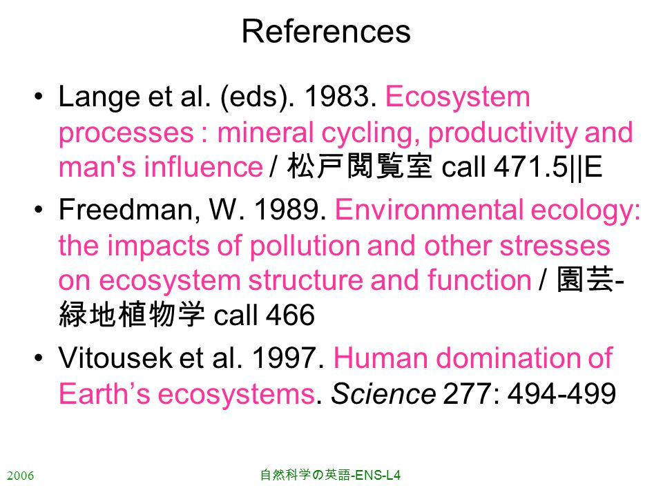 2006 自然科学の英語 -ENS-L4 References Lange et al. (eds). 1983. Ecosystem processes : mineral cycling, productivity and man's influence / 松戸閲覧室 call 471.5||