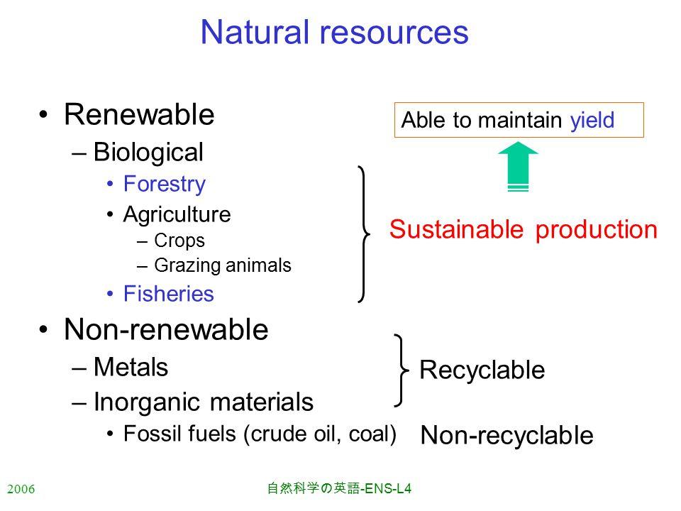 2006 自然科学の英語 -ENS-L4 Natural resources Renewable –Biological Forestry Agriculture –Crops –Grazing animals Fisheries Non-renewable –Metals –Inorganic materials Fossil fuels (crude oil, coal) Recyclable Sustainable production Able to maintain yield Non-recyclable